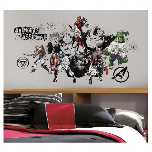 RoomMates Avengers Assemble Black & White Graphic Peel & Stick Wall Decals - image 1 of 1