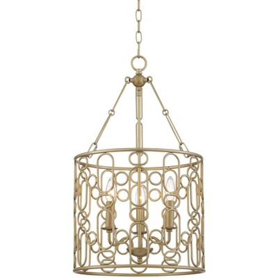 """Barnes and Ivy Gold Foyer Pendant Chandelier 15"""" Wide Modern Open Drum Shade 3-Light Fixture for Dining Room House Foyer Kitchen"""