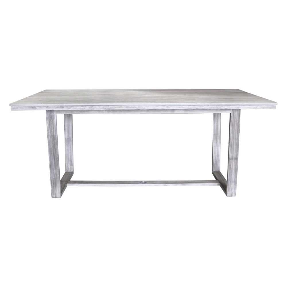 Teak Contemporary Bay Side Outdoor Rectangle Dining Table - Driftwood Gray - Courtyard Casual