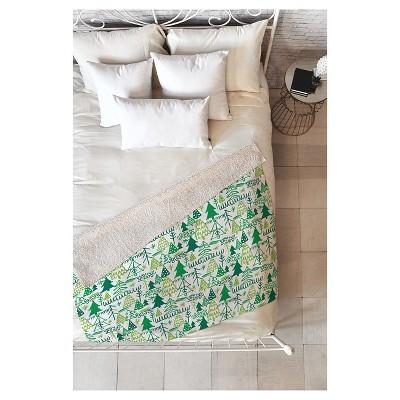 """Green Geometric Zoe Wodarz Wonderland Forest Sherpa Throw Blanket (50""""X60"""")- Deny Designs"""