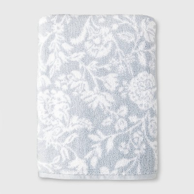 Performance Texture Bath Sheet Light Blue Floral - Threshold™