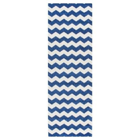 "Blue Solid Loomed Runner - (2'7""x8') - nuLOOM - image 1 of 2"