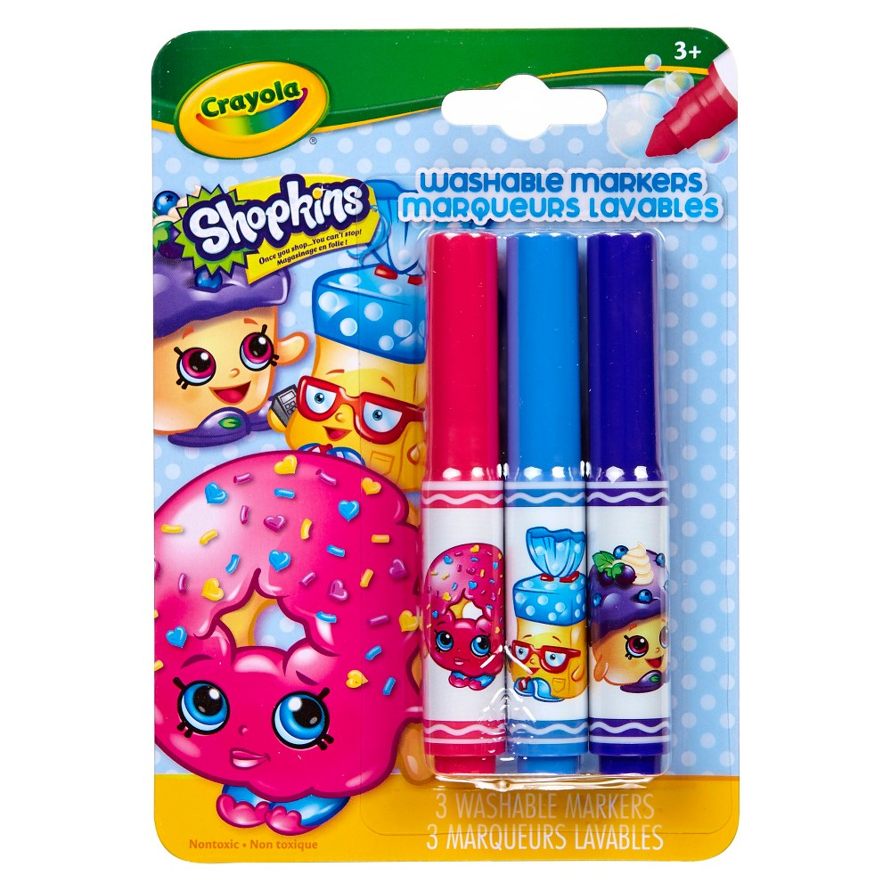 Crayola Shopkins PipSqueaks Markers 3ct - D'Lish Donut, Multi-Colored
