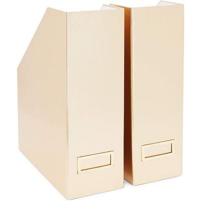 Stockroom Plus 2-Pack Metallic Gold Foil Foldable Desk Magazine File Holder Organizer Boxes with Label