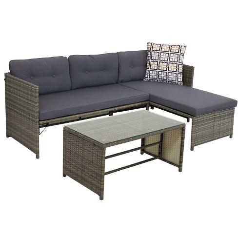 Longford 4pc Outdoor Patio Sectional Set - Dark Gray - Sunnydaze Decor - image 1 of 4