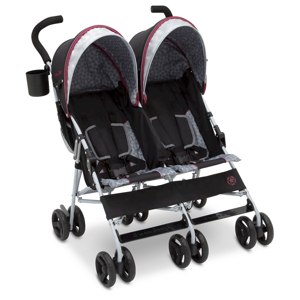 Image of Jeep Scout Double Stroller - Lunar Burgundy
