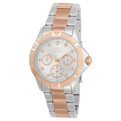 Women's Invicta 21762 Angel Quartz Chronograph Silver and Rose Gold Dial Link Watch - Rose Gold - image 1 of 1