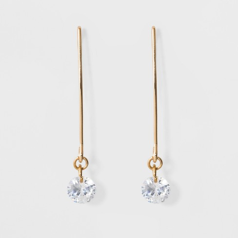 Clear Dangle Threader Earrings - A New Day™ Gold - image 1 of 2
