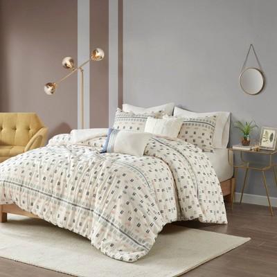 Ari 5pc Cotton Jacquard Duvet Cover Set Aqua