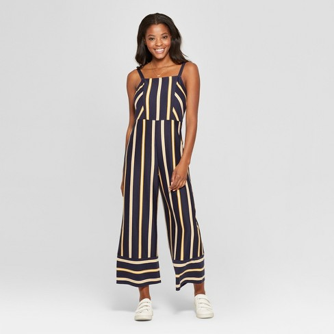 ae651fe2f22c Women s Striped Strappy Square Front Knit Jumpsuit - Xhilaration ...