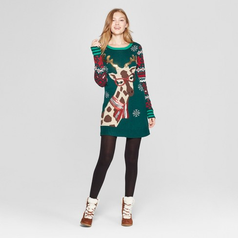 Womens Christmas Giraffe Ugly Sweater 33 Degrees Juniors Green