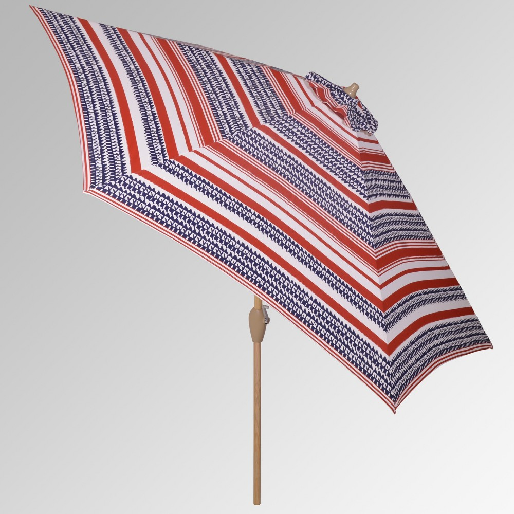 9' Round Patio Umbrella - Quilted Stripe Red - Light Wood Pole - Threshold