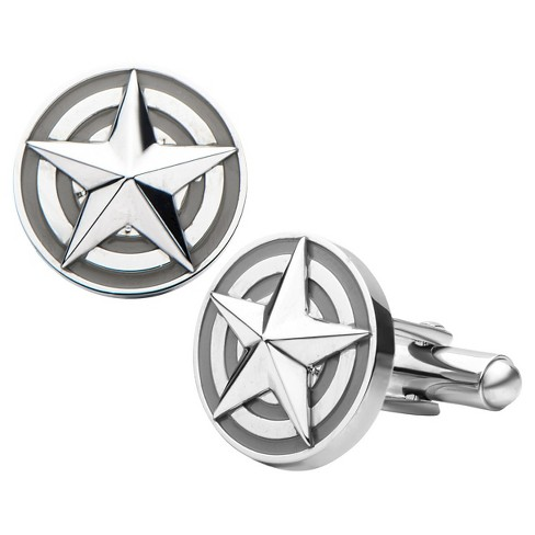 Men's Marvel™ Captain America Shield Logo and 3D Star Stainless Steel Cufflinks - image 1 of 1