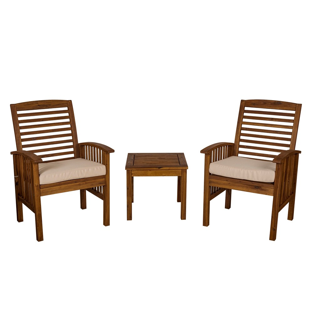 Image of 3pc Acacia Wood Patio Chairs and Side Table Espresso Brown - Saracina Home