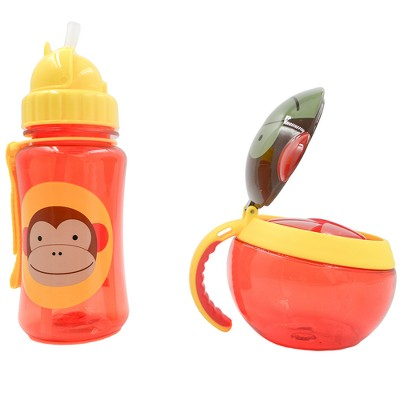 Skip Hop 2pc On The Go Water Bottle and Snack Cup Set - Monkey