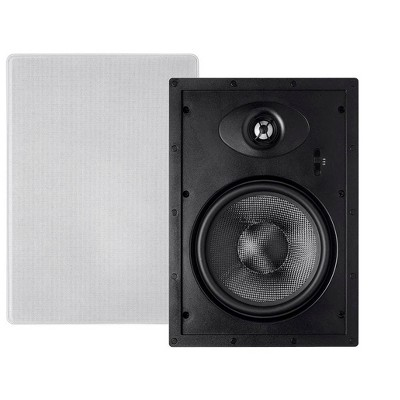 Monoprice 2-Way Carbon Fiber In-Wall Speakers - 8 Inch (Pair) With Paintable Magnetic Grille - Alpha Series