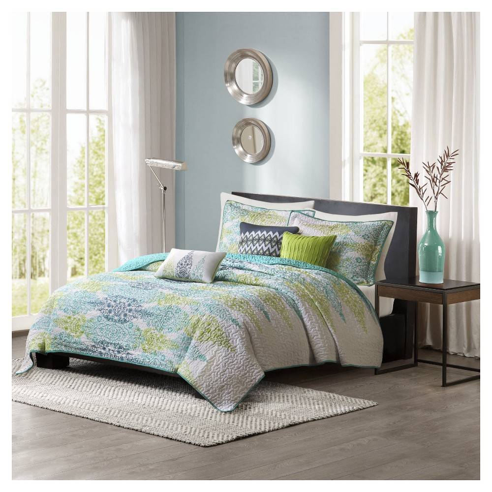 Reza 6 Piece Quilted Coverlet Set- Blue (King/ Cal King )