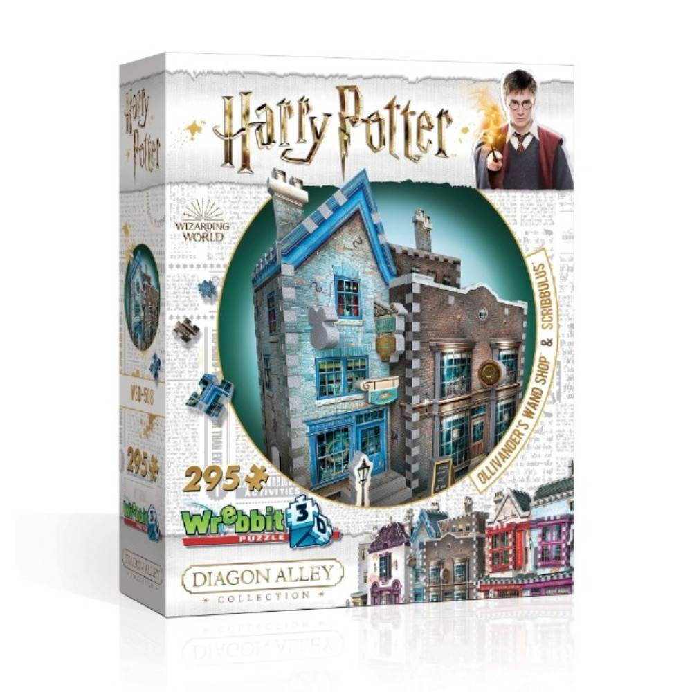 Wrebbit OllivAnder's Wand Shop And Scribbulus 3D Puzzle 295pc Founded in 382 B.C., Ollivander's is a famous family owned wand shop widely acknowledged to be the best wand makers in Great Britain. Don't be put off by the huge selection, the right wand will choose you! And for the finest writing implements, quills and parchment for your studies at Hogwarts, Scribbulus is the place to go! This 295-piece 3D puzzle is an essential part of the Diagon Alley Collection, which all Harry Potter fans like you will want to collect to create their own alleyway, two shops at a time. Assembled dimensions: 8.75'' L x 5'' W x 10.25'' H. Wrebbit3D puzzles have snug and tight fitting foam back pieces that are easy to handle. Recommended for ages 12 and up. Warning: Choking Hazard -- Small parts. Not for children under 3 yrs. Gender: Unisex.