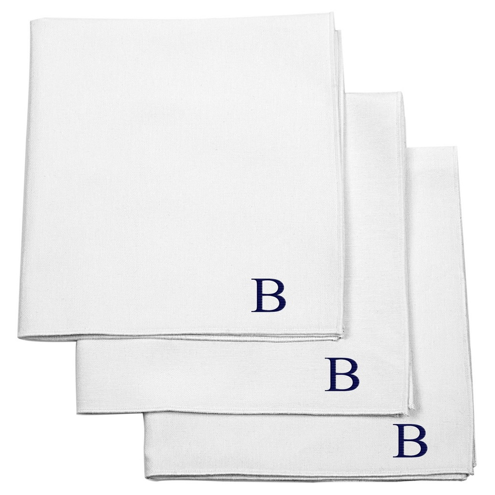 Monogram Groomsmen Gift Handkerchief Set - B, White