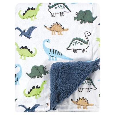Hudson Baby Infant Boy Plush Blanket with Sherpa Back, Dino, One Size