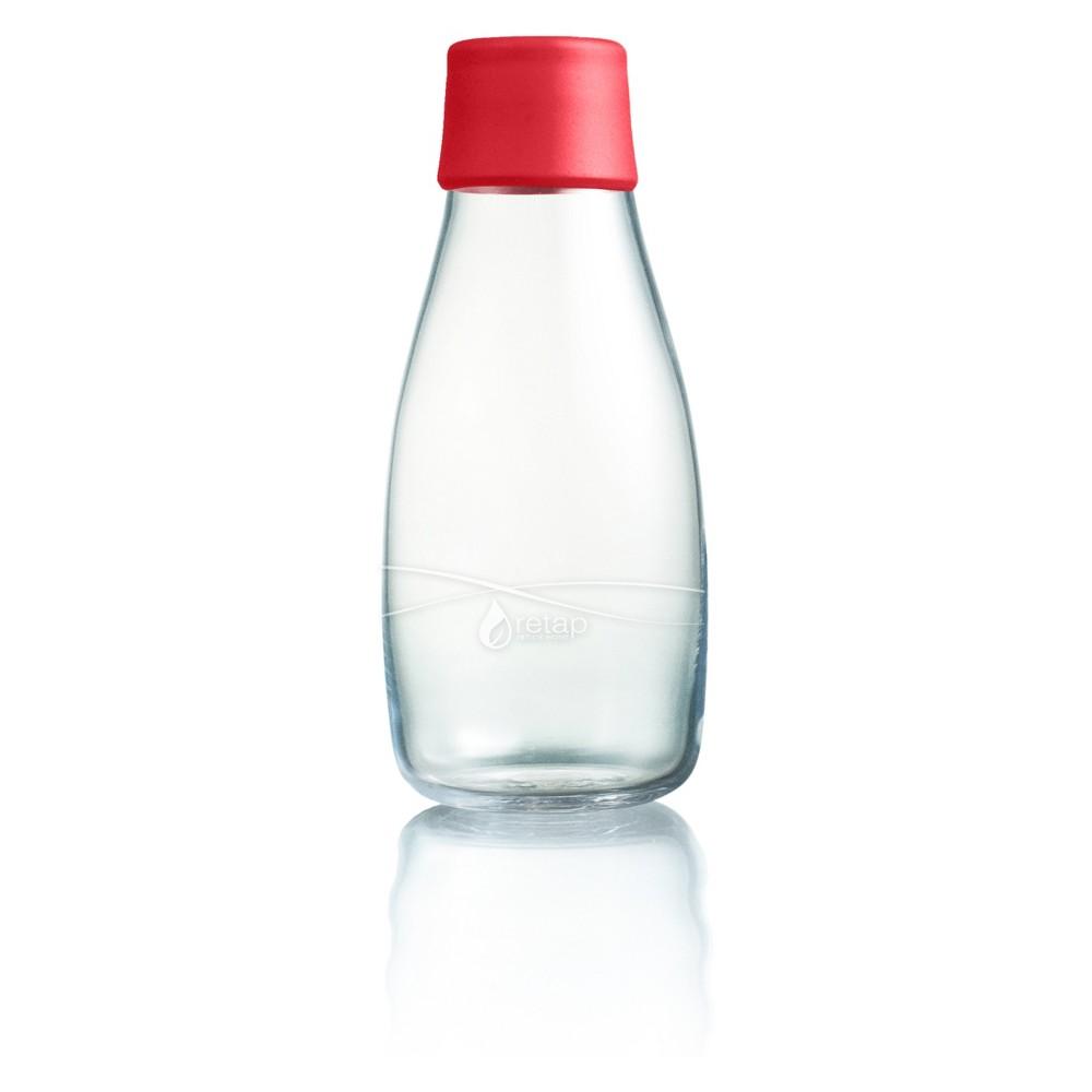 Retap Glass Water Bottle 10oz - Red