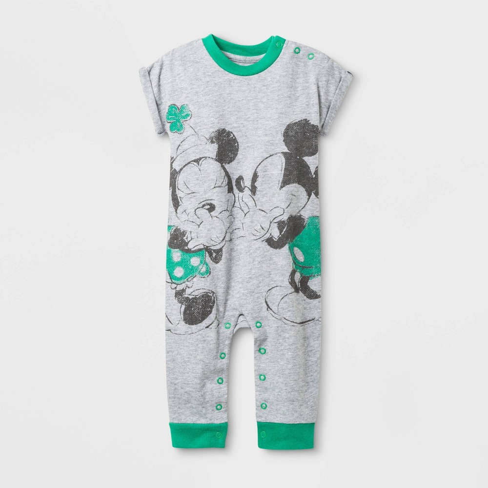 Baby Girls' Disney Minnie and Mickey Mouse St.Patrick's Day Romper - Heather Gray 0-3M, Girl's, Gray Green was $8.99 now $5.39 (40.0% off)