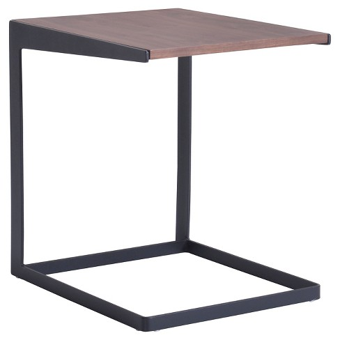 Mid Century Modern Square 18 End Table Walnut Black Zm Home
