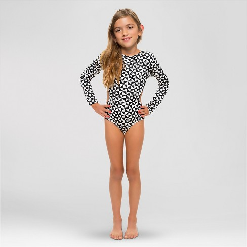 33340884e8 Girls' Rash Guard Stamp Print Black & White L - Vanilla Beach : Target