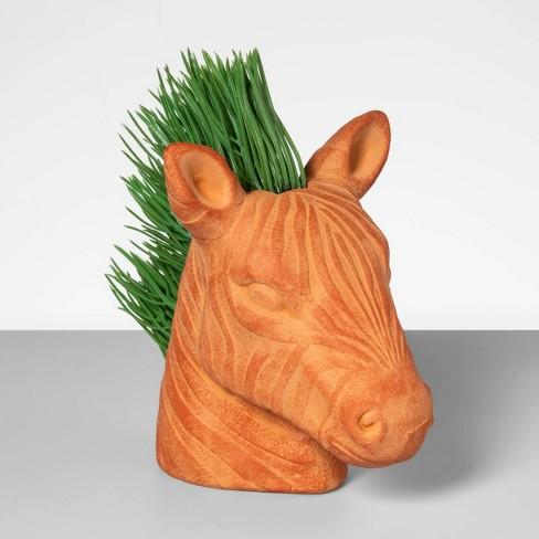 "9"" x 8"" Artificial Grass In Zebra Terra Cotta Pot - Opalhouse™ - image 1 of 1"