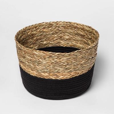 Round Basket in Braided Matgrass & Black Coiled Rope - Threshold™