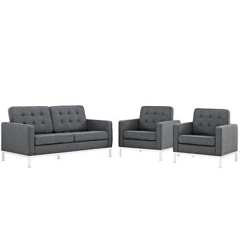 Set of 3 Love Seat, Accent Chairs Loft Living Room Set Upholstered Fabric Gray - Modway - image 1 of 7