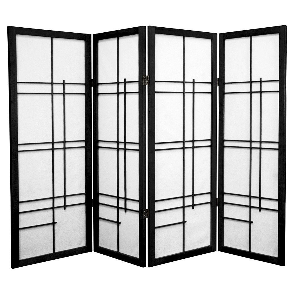 Image of 4 ft. Tall Eudes Shoji Screen - Black (4 Panels)