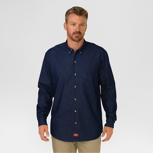 Dickies Men's Big & Tall Fit Denim Long Sleeve Button-Down Shirt - image 1 of 2