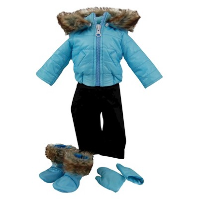 The Queen's Treasures 15 Inch Baby Doll Clothes, Twin 6pc Blue Winter Jacket, Pants, Boots, Mittens