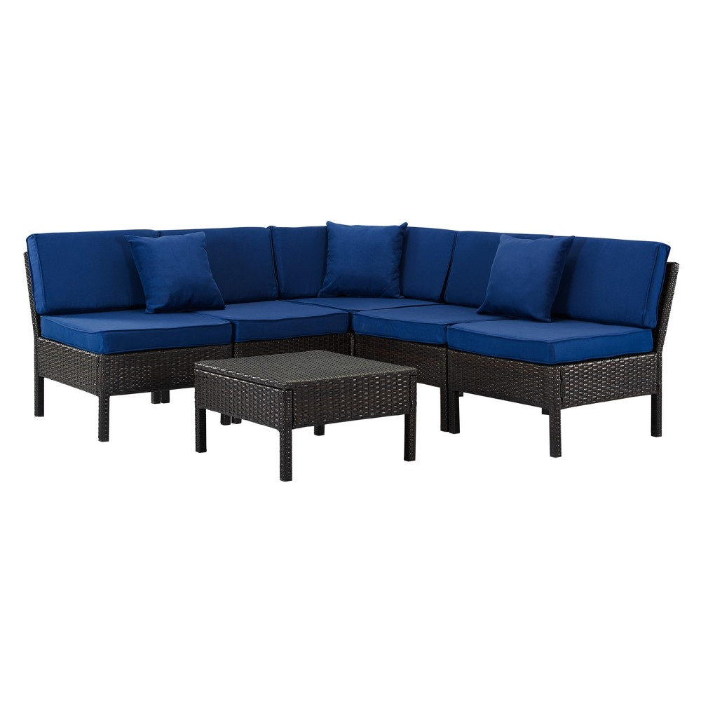 Image of 6pc Florence Wicker Lounge Set Brown/Navy - DH Casual, Brown/Blue