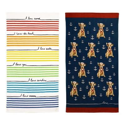 2pk French Love Striped Beach Towel - ED Ellen DeGeneres