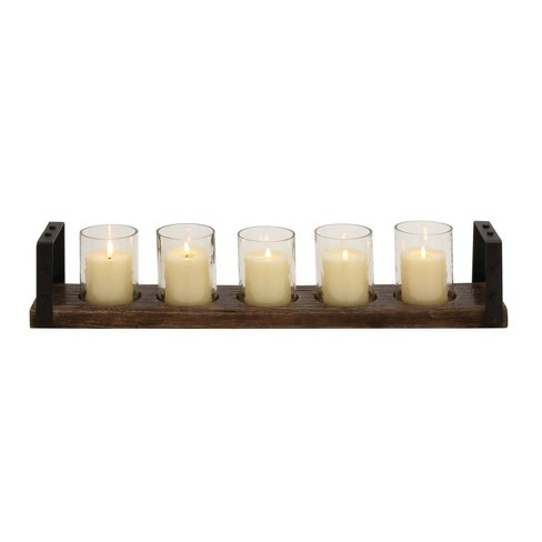 28 X 5 Farmhouse Iron Wood Five Light Votive Candle Holder Brown Olivia May Target