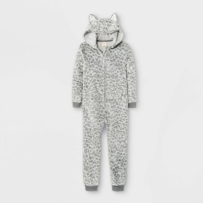 Girls' Leopard Print Union Suit - Cat & Jack™ Cream/Gray