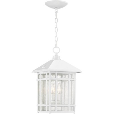 "Kathy Ireland J du J Sierra Craftsman 16 1/2""H White Outdoor Hanging Light"