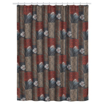 Borneo Floral Textured Shower Curtain Brown/Red - Creative Bath