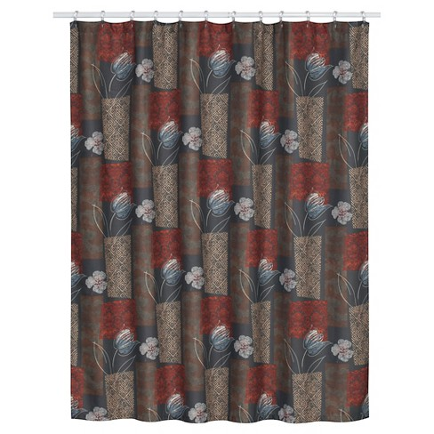 Borneo Floral 100 Textured Polyester Shower Curtain Brown Red