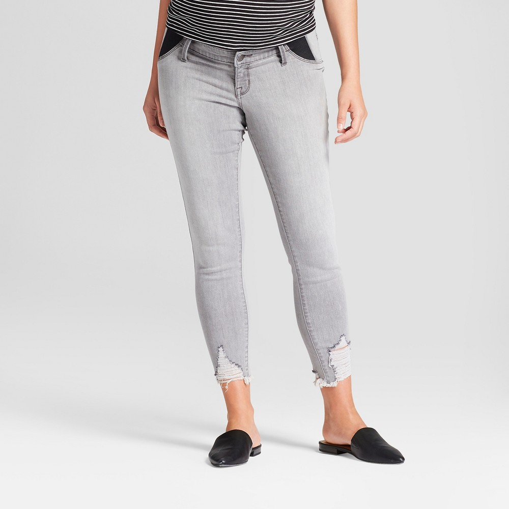 Best Price Maternity Inset Panel Distressed Skinny Crop Jeans Isabel Maternity By Ingrid Isabel Gray Wash 14 Women