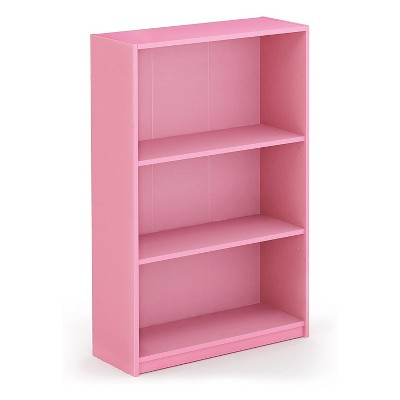 Furinno Jaya Home Simple Sleek Wooden 3 Tier Adjustable Office Open Bookcase Display Closet Storage Shelf for Living Room and Bedroom Spaces, Pink
