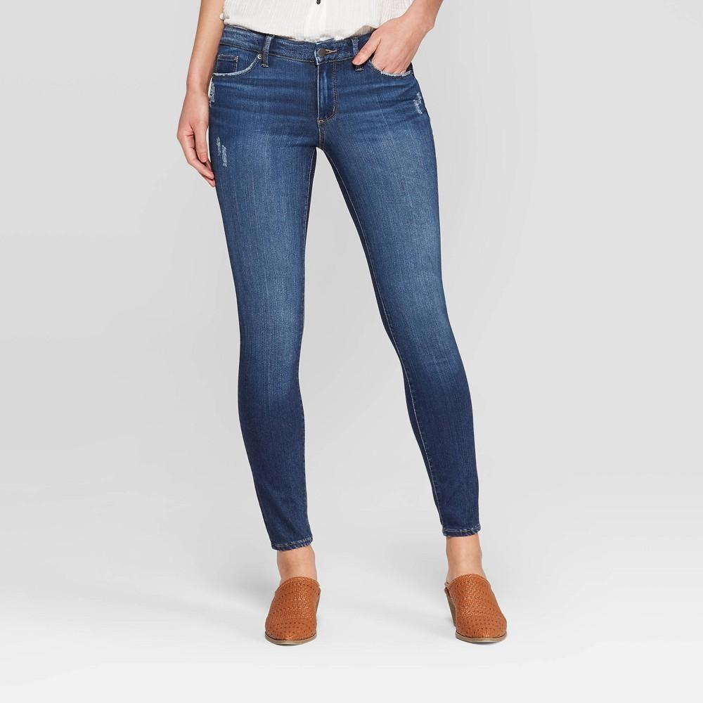 Best Buy Women Mid Rise Skinny Jeans Universal Thread Dark Wash 00 Blue