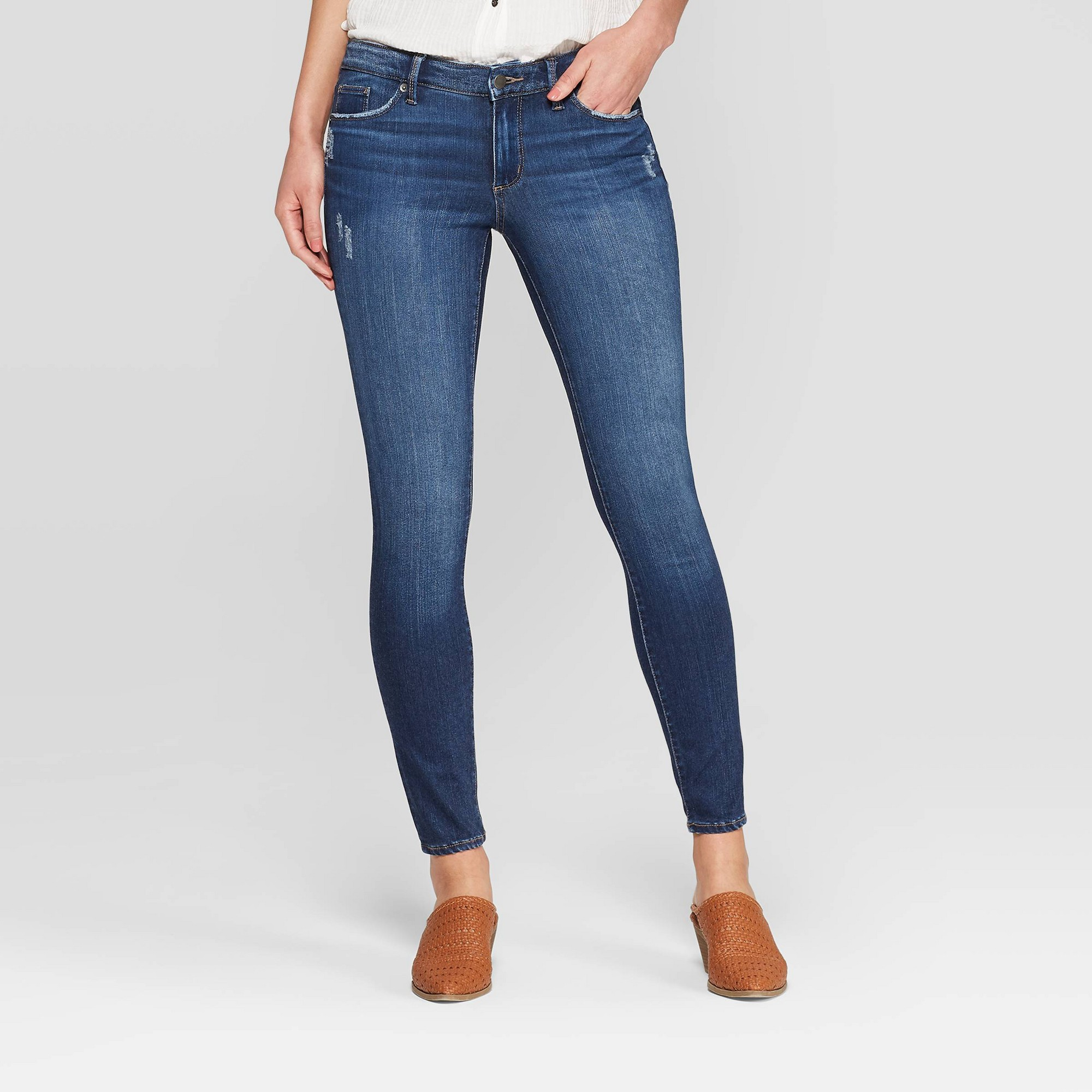 Women's Mid-Rise Skinny Jeans - Universal Thread Dark Wash 00, Blue