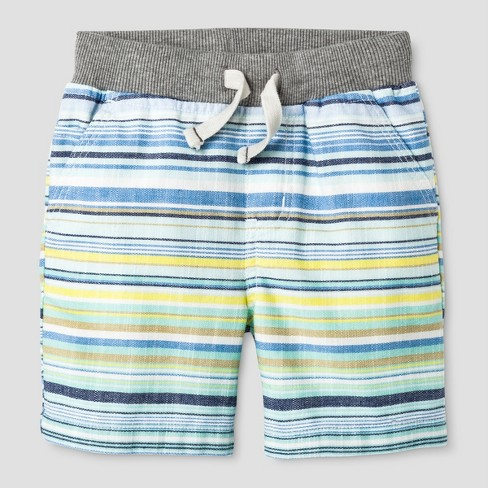 Baby Boys' Stripe Pull-on Shorts Blue/Yellow - Cat & Jack™ - image 1 of 2