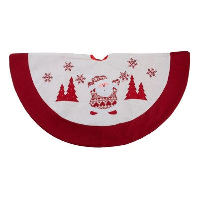 """Northlight 36"""" Red and White Knit Santa Claus Embroidered Christmas Tree Skirt"""