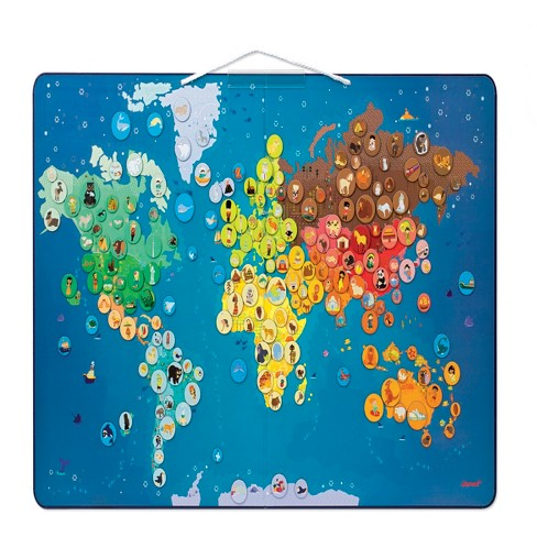 Janod World Map.Janod Magnetic Animal World Map Target