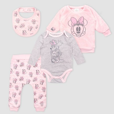 Baby Girls' Disney Minnie Mouse 4pc set - Light Pink 6-9M