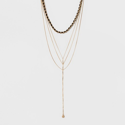 Women s Necklace Layered Y Neck Choker With Mixed Chains - Gold   Target ed4813538d